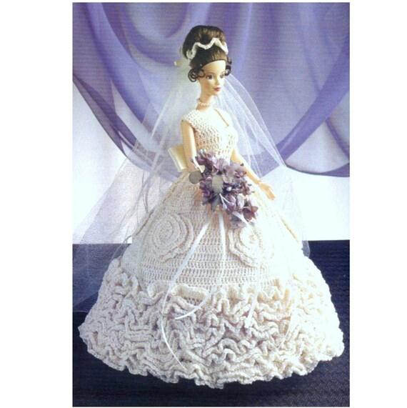 Vintage Crochet Pattern PDF Fashion Doll Ruffled Wedding