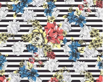 Blue, coral, yellow and gray with black stripes floral craft  vinyl sheet - HTV or Adhesive Vinyl -  flower pattern vinyl  HTV7801