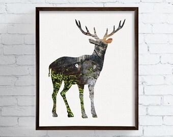 Deer Art, Deer Print, Rustic Wall Art, Woodland Animals, Forest Animals, Cabin Decor, Deer Poster, Woodland Nursery, Housewarming Gift