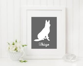 German Shepherd Silhouette, German Shepherd Print, Dog Silhouette Art Print, Custom Dog Silhouette, Custom Dog Art, Name, Dog Poster
