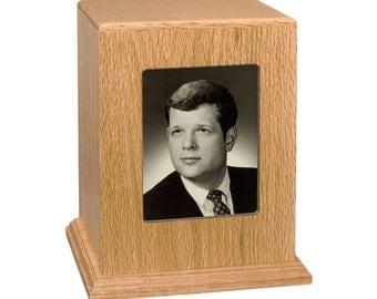 Oak Vertical Photo Wood Cremation Urn