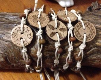 Handmade Hemp Friendship Bracelet/anklet/wristband with Coconut Shell Button