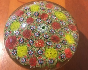 Multi colored floral murano glass paperweight