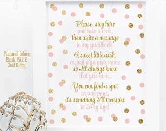 Baby Shower Guest Book Sign   Blush Pink Gold Glitter Party 8x10 And 5X7  Printable Birthday