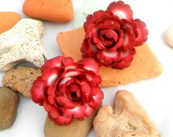 Rose Earrings,Polymer Clay Jewelry, Floral Jewelry,Red Earrings