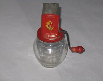Vintage nut grinder Hazel Atlas red grinder glass jar