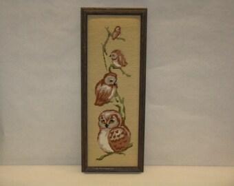 Vintage owl needlepoint picture framed