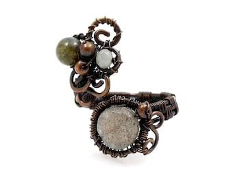 Labradorite Boho Ring, Statement Ring, Artisan Made, Whimsical Swirls and Spirals