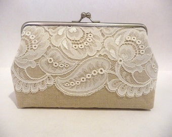Leaf Lace Clutch, Rustic Bridal Clutch, Bridesmaid Linen Lace Purse, Bridesmaid Clutch, Elegant Vintage Style Purse