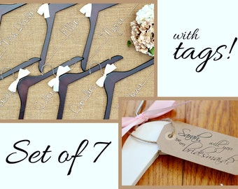 Set of 7 Personalized Bridal Hangers with Tags, Custom Hanger, Wedding Party Hangers, Bridesmaid Gift, Bride Hanger, Mrs Hanger