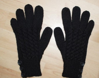 Merino Wool Gloves - Black - Cable Pattern and Buttoned Cuff