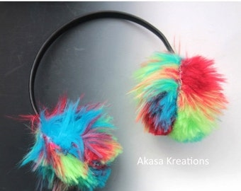 30% OFF Rainbow Neon Faux Fur Ear Muffs Adjustable headband Winter Gear Warmth Raver EDM