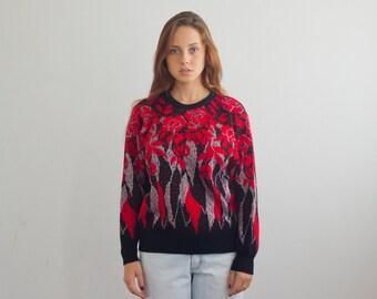 vintage 80's sweater/ glitter ugly 80's sweater/ vintage roses on black knit jumper