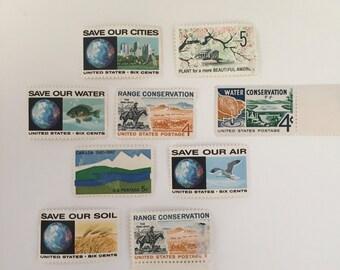 Unused vintage postage stamp set - Conservation - 9 stamps