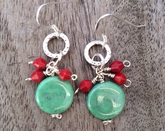Turquoise Coin and Coral Beaded Dangle Earrings