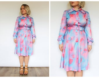 Vintage 1970's Blue Pink Purple Feather Print Midi Dress 10 12 14 M L