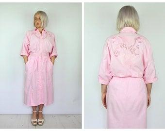 Vintage 1980's Pink Midi Embroidered Dress 14 16 18