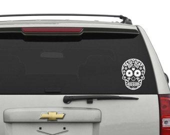 Sugar Skull Outline Car Decal