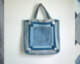 70s Handmade Denim Patchwork Bag Multi Color Denim