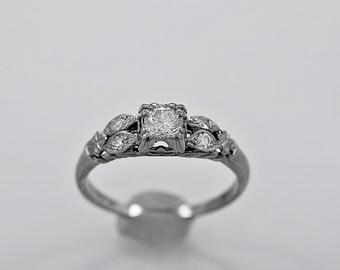 Antique Engagement Ring .25ct. Diamond & White Gold Art Deco - J36060