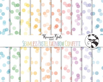 50% OFF Seamless Pastel Rainbow Confetti Digital Paper Set - Personal & Commercial Use