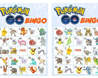 40 Printable Pokemon Go Bingo Cards Prefilled Pokemon Clip Arts and Numbers - Pokemon Characters with Names- Instant Download