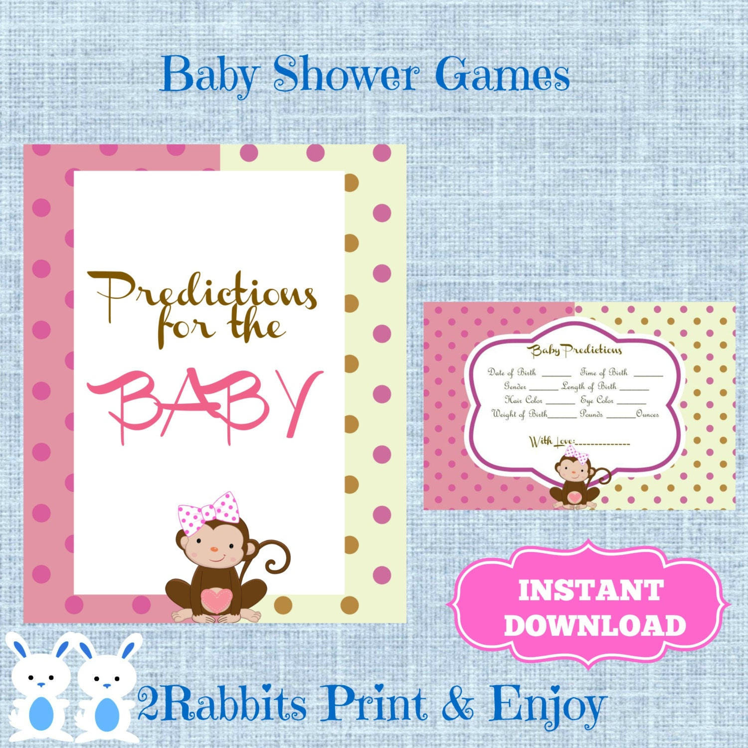 monkey girl baby shower baby predictions cards monkey be girl