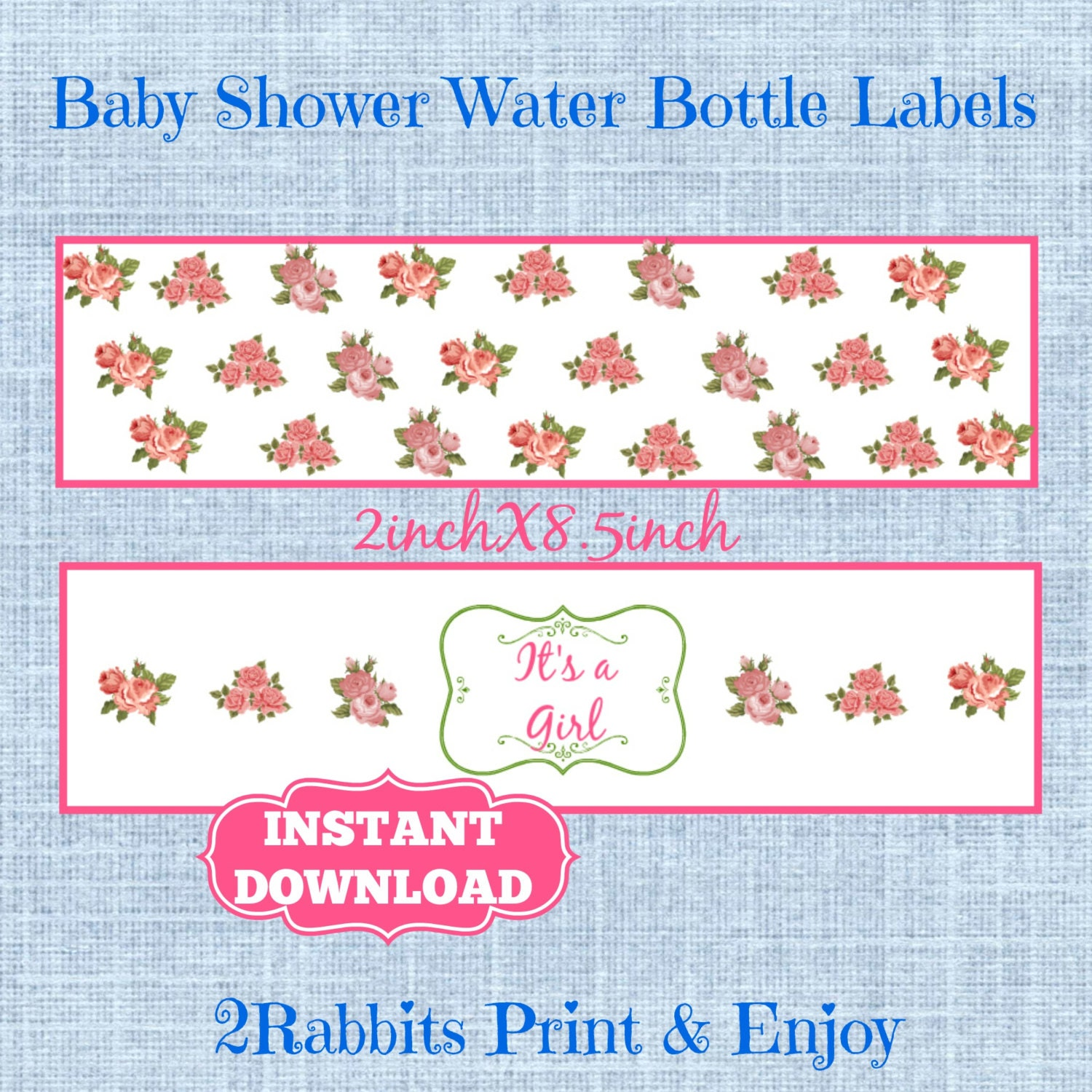 vintage floral baby shower water bottle labels flower baby
