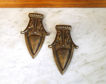 Metal Decorative Restoration Hardware Architectural Salvage Screw Back Embellishment Pair