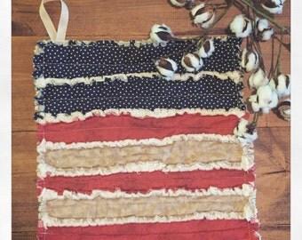 Americana Baby Rag Quilt Lovey