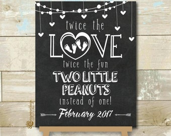 Personalized Twin Pregnancy Announcement Chalkboard Two Little Peanut Twice the Fun Printable JPEG 8X10""