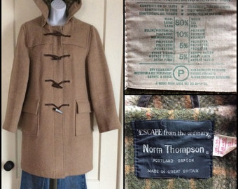 1970's Gloverall Duffle Coat with Horn Toggles and Hood Beige Tan made in England size L