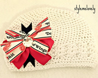Detroit Red Wings Baby Girl Boutique Bow Crocheted Hat