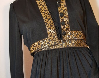 FREE  SHIPPING     Vintage 1970 gold Metallic Maxi
