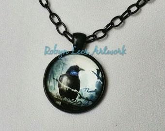 Black Raven Edgar Allan Poe Inspired Glass Cabochon Necklace on Black Chain