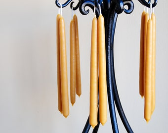 """Pair of 100% Pure Beeswax Hand-Dipped 9-1/2"""" Taper Candles"""