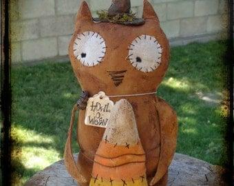 Primitive Owl Witch Folk Art, Halloween Decor, Fall Autumn Cupboard Sitter, OFG FAAP