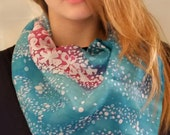 Scarf Map of Israel with pink blooming almonds - Handpainted silk scarf with Israel map - gift for Jewish New Year and Passover