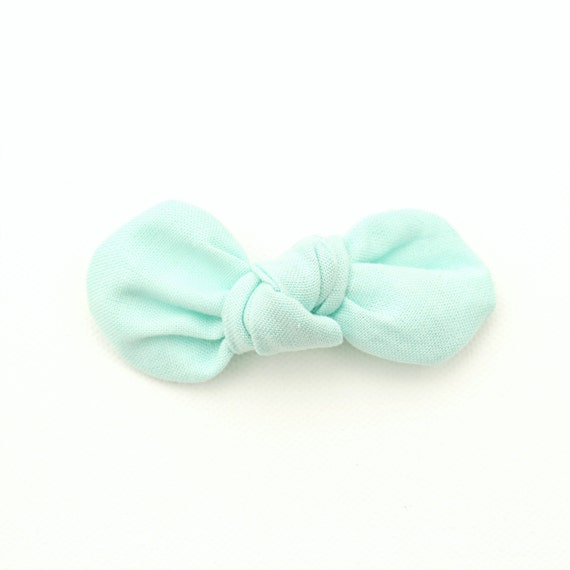 Mint Fabric Bow : Knotty Gal Style on a Clip or Nylon Headband  // Machine Washable