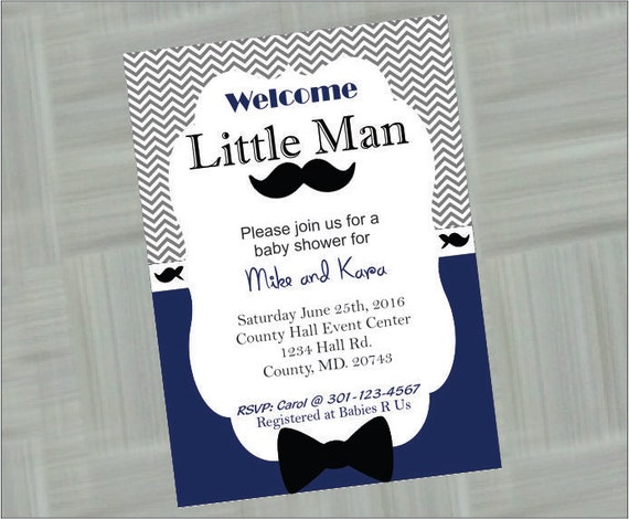 little man baby shower invitation digital invitations printable baby