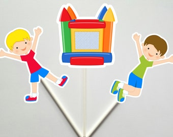 Bounce House Cupcake Toppers, Bounce Party Cupcake Toppers, Bounce Party, Boys Bounce Party, Boys Jumping Party