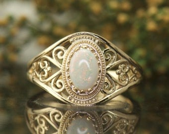Opal Fashion Ring in 14k Yellow Gold, Oval Cabochon Opal, 7x5mm 0.50ct All-Natural Opal, Scroll, Filigree and Miglrain, Priscilla