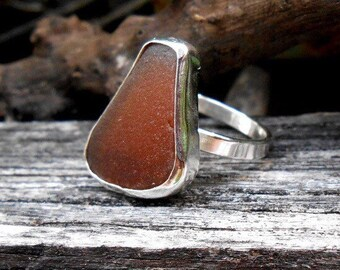 Sea Glass Ring, Sterling Silver Ring, Silver Ring, Amber Seaglass, Sea Glass Jewelry, Size 6.5 Ring, Beachy Ring