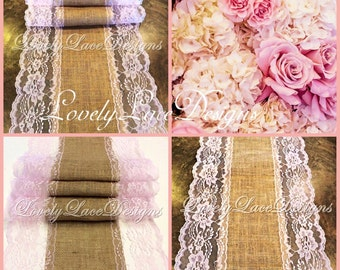 Burlap Lace Table Runner/blush Pink Lace/5ft-10ft longx 13in Wide/Wedding Decor/Tabletop Decor/Centerpiece/Weddings