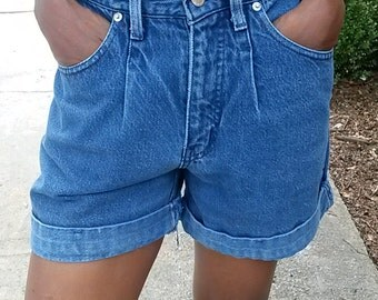 1980s High Waist Blue Jean Shorts by SASSON//Size XS S