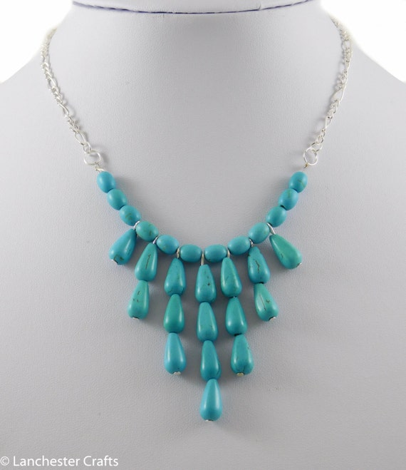 Turquoise waterfall necklace handmade with teardrop beads for Waterfall design etsy