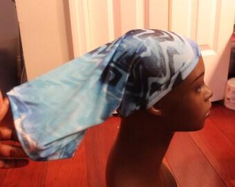 Baby Blue Waves HAIRSOCK/LOCSOC/HAIRTUBE/Headwrap/SleepCap
