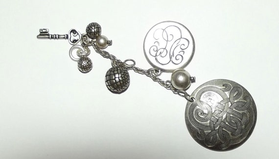 Craft supplies ~ Celtic love knot pendant TWO silver snakeskin balls beads silver key chain ~ US seller