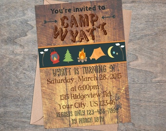 Boy's sleepover camp out camp in  birthday party digital and printable invitation!