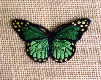 """Butterfly Patches 3"""" Beautiful Green Butterfly - Sew On or pin DIY Patches for Jackets and Backpacks."""